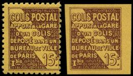 FRANCE Colis Postaux ** - 54a + B, Dentelé + Non Dentelé: 15c. Brun Foncé Sur Jaune Vif - Cote: 770 - Ungebraucht