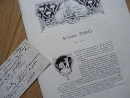 Auguste PARIS (1850-1915) SCULPTEUR élève Jouffroy & Falguière. BEAUX ARTS Paris. AUTOGRAPHE Cdv - Autographes