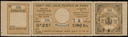 """FRANCE Colis Postaux Paris Pour Paris  N° Spink * - 23a, Complet 3 Volets, """"annulé"""" Au Verso: 25c. Noir/bistre (1898) - - Parcel Post"""