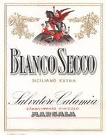 """D9250 """"BIANCO SECCO  -SICILIANO EXTRA - SALVATORE CALAMIA - Stabilimento Vinicolo Marsala"""".  ETICHETTA ORIGINALE. - Etichette"""