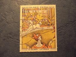 """1960-69- Timbre Oblitéré N° 1588 A   """" Thème Grands Peintres : Seurat, Le Cirque     """"     0.65 - France"""