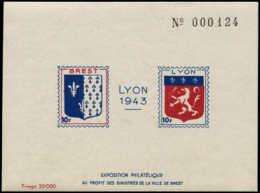 FRANCE Libération (N° Et Cote Mayer) * - Lyon, Bloc De 1943 Pour Les Sinistrés De Brest - Cote: 175 - Liberation