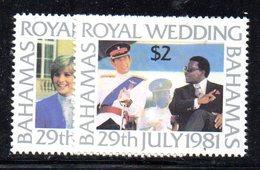 APR445- BAHAMAS 1981 , Serie Yvert N. 478/479  ***  MNH  (2380A). Carlo E Diana - Bahamas (1973-...)
