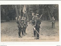 CHASSEURS ALPINS FRANCAIS AU SCHLESWIG LE ROI DU DANEMARK PASSE EN REVUE GUERRE DE 1914 CPA BON ETAT - Regiments