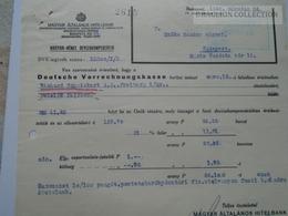 ZA192.8 Magyar Általános Hitelbank - Magyar- Német Devizakompenzáció 1942 Budapest - Invoices & Commercial Documents