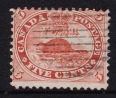 Canada 1859 Beaver 5c Pale Red Used - SG 31, Sc 15 - Fault - Used Stamps