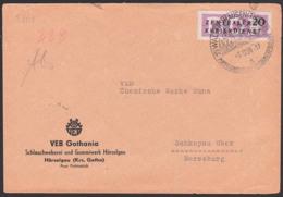 Waltershausen ZKD-Brief  B7 SoSt. 5.12.56, Puppenindustrie, Abs. Schlauchweberei Hörselgau, Abb. Elephant Puppenkinder - [6] Oost-Duitsland