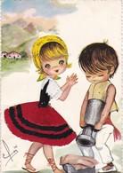 """64. PAYS BASQUE. CARTE FANTAISIE BRODÉE ET TISSU AJOUTE. ENFANTS . ILLUSTRATION SIGNÉE """"ELSE"""" - Embroidered"""