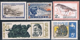 Uruguay 1954 / 71  -  Yvert  631 + 667 + 706 + 781 + 812  ( ** ) - Uruguay