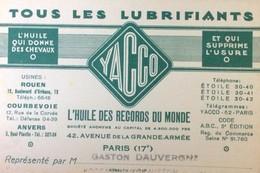 ANCIENNE CARTE VISITE YACCO HUILE AUTOMOBILE AVENUE GRANDE ARMEE PARIS 75017 AUTOMOBILES CAR - Pubblicitari