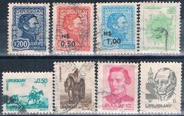 Uruguay 1973 / 80  -  Yvert  847 + 922 + 923 + 948 + 996 / 97 + 1035 + 1062    ( Usados ) - Uruguay