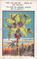 """CARTE FANTAISIE . CPA .ILLUSTRATION .ENFANTS DANS UN COCOTIER  """" LE FRUIT DU COCOTIER....."""". + TEXTE ANNEE 1929 - Scènes & Paysages"""
