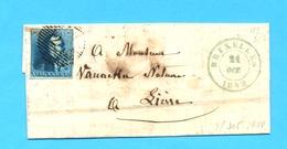 België 1849 :  BRIEF/LETTRE 1849  BRUXELLES -LIERRE.. Zegel Nr 2. Stempel 24.  Ft. : 12,30 X 19,10 Cm. ( 4 Blz. ). - 1830-1849 (Belgique Indépendante)