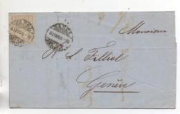 SUISSE  Lettre De 1868 (3) - 1862-1881 Helvetia Seduta (dentellati)