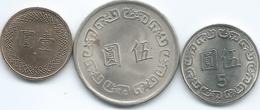 Taiwan - Dollar - 2012 (KMY551); 5 Dollars - 1972 (KMY548) & 2012 (KMY552) - Taiwan