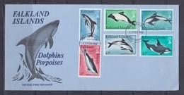 Falkland Islands 1980 Marine Mammals, Dolphins, Whales FDC - Mammifères Marins