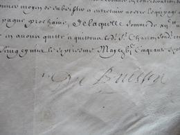 Pièce Velin Autographe Signée Charles Du Buisson Régiment Cavalerie Reçu De Charron 0705/1657 - Autographes