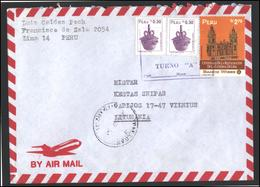 PERU Postal History Letter Brief PE 002 Air Mail Lima Cathedral Archaeology Pottery - Pérou
