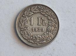 Suisse Switzerland 1 Franc Argent Silver 1939 Rappen - Suisse