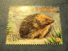 """2000-2009-timbre Oblitéré N°   3383 """" Petits Animaux Ds La Forêt : Hérisson     """"    0.50 - France"""