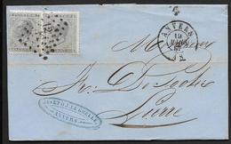 17 (2x) Sur Lettre Oblitération LP 12 CàD Anvers Le 19 Mars 1867 Vers Lierre (Lot 419) - 1865-1866 Linksprofil