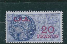 Timbre Fiscal Bleu à 20frs Avec Surcharge C.F.A. De Couleur Rouge - A Voir, Pas Courant - Revenue Stamps