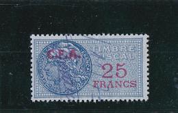 Timbre Fiscal Bleu à 25frs Avec Surcharge C.F.A. De Couleur Rouge - A Voir, Pas Courant - Fiscaux