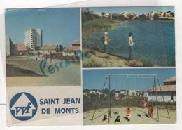 85 VENDEE - CP ANIMEE 3 VUES VVF SAINT JEAN DE MONTS - ARCHITECTE MARTY - ARTAUD HN 105 - CIRCULEE EN 1976 FLAMME - Saint Jean De Monts