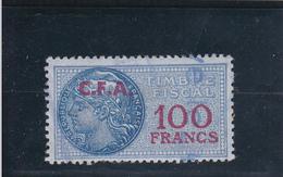 Timbre Fiscal Bleu à 100frs Avec Surcharge C.F.A. De Couleur Rouge - A Voir, Pas Courant - Fiscaux