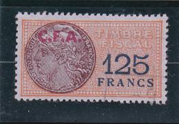 Timbre Fiscal Jaunâtre à 125frs Avec Surcharge C.F.A. De Couleur Rouge - A Voir, Pas Courant - Revenue Stamps