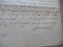 Pièce Papier Autographe Baudouin Rég Vendôme  + Sceau  Congé De Service Bully Pour Blessure Au Bras Peronne 19/0/1709 - Autographes