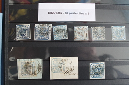 1862  /  1864       9  EXEMPLAIRES  OBLITERES    DU  30  PARALES  BLEU - 1858-1880 Moldavia & Principality
