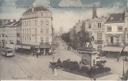 Ostende - La Place Léopold Et L'Avenue Charles Jansens (animation, Brasserie Hôtel Colorisée Tram Tramway Photochrom '13 - Oostende