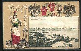 AK Parenzo, Panorama Und Wappen - Croatie