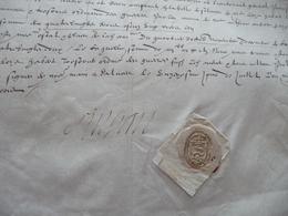 Pièce Signée Sur Velin 11/07/1583 Jean De Vinos Seigneur De Singan Enseigne Cie De 60 Lances Beau Sceau La Valette - Autógrafos
