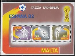 MALTA - MONDIALI DI CALCIO  ESPANA 82 - - FOGLIETTO NUOVO** (YVERT BF 07 - MICHEL BL 07) - 1982 – Espagne