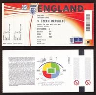 AC - ENGLAND V CZECH REPUBLIC FOOTBALL - SOCCER TICKET 20 AUGUST 2008 WITH COUNTER FOLDER - Match Tickets