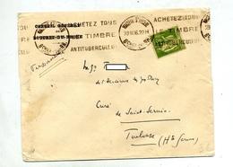 Lettre Flamme Marseille Timbre Antituberculeux - Poststempel (Briefe)