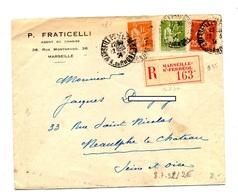 Lettre Recommandee Marseille Sur Paix Semeuse - Postmark Collection (Covers)