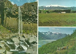 Southeast Iceland (Island) Views, Waterfall Svrtifoss And Part Of The Great Vatnajokull Glacier - Islande