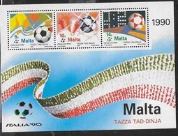MALTA - MONDIALE DI CALCIO - ITALIA '90 - FOGLIETTO NUOVO** (YVERT BF 11 - MICHEL BL 11) - Coppa Del Mondo