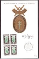 France - 1960 - Document XXème Anniversaire De L'Ordre De Le Libération - Signature De Durrens - Briefe U. Dokumente