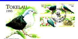 WWF  FDC 1995 TOKELAU PIGEONS  YVERT N°209/12 - FDC