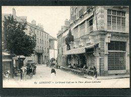 CPA - LORIENT - Le Grand Café Sur La Place Alsace Lorraine, Animé - Attelages - Lorient