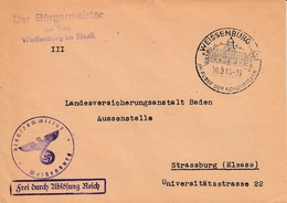 Env Frei Durch Ablösung Reich Obl WEISSENBURG (ELS) Du 10.9.43 AM FUSSE DER NORDVOGESEN Adressée à Strassburg - Postmark Collection (Covers)