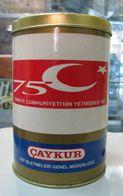 AC -  75th ANNIVERSARY OF REPUBLIC OF TURKEY EMPTY TIN TEA BOX - Cans