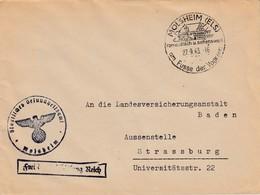 Env Frei Durch Ablösung Reich Obl MOLSHEIM (ELS) Du 22.9.43 Am Fusse Der Vogesen Adressée à Strassburg - Postmark Collection (Covers)