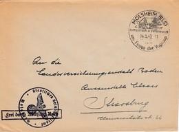 Env Frei Durch Ablösung Reich Obl MOLSHEIM (ELS) Du 04.5.43 Am Fusse Der Vogesen Adressée à Strassburg - Postmark Collection (Covers)