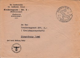 Env Frei Durch Ablösung Reich Obl ZABERN (ELS) Du 01.4.43 LUFTKURORT IN HERLICHER LAGE Adressée à Strassburg - Postmark Collection (Covers)