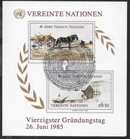 O.N.U. NAZIONI UNITE - WIEN - 40° ANNIVERSARIO O.N.U.  1985 - FOGLIETTO USATO F.D.C. (YVERT BF 02 - MICHEL BL 02) - Blocchi & Foglietti